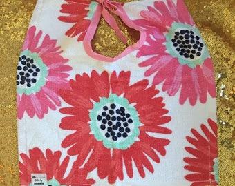 Floral Wear&Wash Bibs by Bobbie - Red/Pink floral design