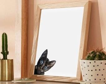 Black Kitten, Original Watercolor Painting, Cat lovers Gift, Cute Animal Art, Artwork for the Home, Nursery art, Animal Watercolour, Kitten
