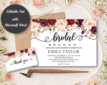 Bridal Brunch Invitation, Watercolor bridal invite, Floral Bridal Shower Card, Instant Digital Download File, Flower Bride DIY, Brunch, #R5