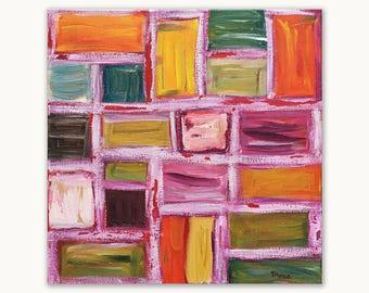 Origineel abstract schilderij, 40 x 40 cm, vierkant schilderij, acryl op canvas