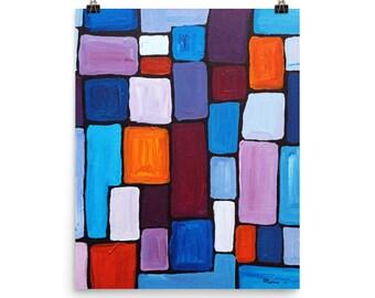 Art Print Abstract schilderij, blauw schilderij, kunst aan de muur, moderne kunst