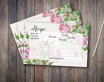 Recipe Card Bridal Shower Floral Printable Games Vintage Roses Wedding Card Rose Instant Download - BG004