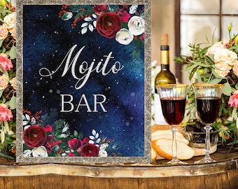 Mojito bar Wedding Sign Christmas Winter New Year Snow White Red Burgundy Floral Wedding Printable Decor Gifts Poster Sign 8x10 WS-050