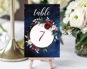 Wedding Table Numbers,Christmas Winter Numbers,Red White Burgundy Table Numbers,Table Numbers Wedding,1-10,4x6,PDF Instant Download TN-050