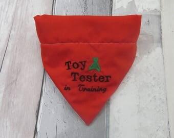 Toy Tester Christmas Dog Bandana, dog accessories, slip on bandana, pet accessories, detachable bandana, collar accessory