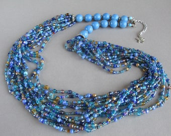 Blue beaded necklace, Seed beads jewelry, Blue necklace, Multistrand necklace