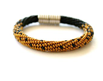Bead Crochet Bracelet, Beadwork Jewelry, bracelet with magnetic clasp,clasp magnetic,black and gold beaded bracelet,gold,black,bead crochet