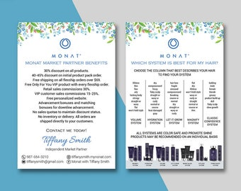 Monat Market Partner Benefits, Monat Systems, Custom Monat Hair Care Card, Fast Free Personalization, Monat Business Cards MN06
