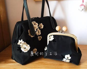 wide holding frame handbag - top-quality fabric from Japan