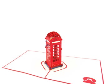Telephone Booth 3D Card, Phone Booth 3D Card, Red Phone Booth Card, Red Card, Red Birthday Card,