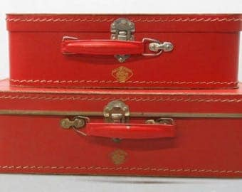 2 Small Vintage Czech Kazeto Red Suitcases