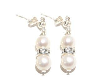 Swarovski Crystal, Freshwater Pearl earrings