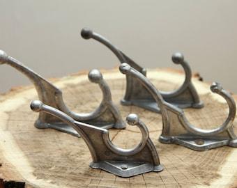 Hooks set of 4 Wall hooks Coat hooks Towel hooks Aluminium hooks Soviet hooks Vintage hooks Silver hooks Rustic home decor Cloth hangers