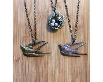 SALE Bird's Nest Necklaces/Bird Necklaces/Wanderlust Necklace/Wanderer Necklace/Unique Pendanr Necklace/Sparrow/Song Bird Necklace
