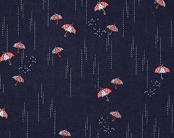 Rainbrella Shadow, Charleston Fabric, Amy Sinibaldi, Art Gallery Fabrics, Umbrella, Spring Shower, Storm, Rain, High Thread Count, Navy Blue