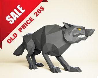 Papercraft Wolf, Sale (old price: 20), DIY paper Sculpture, Paper model, 3D paper craft, Papercraft animals DIY gift, papercraft PDF pattern