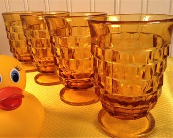 Vintage Juice Glasses, Amber Glassware, 4 Indiana Whitehall Amber Glasses, Honey Gold Yellow Glass Footed Drinking Glasses 70s Retro Barware