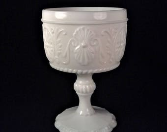 Milk Glass Vase, White Milk Glass Compote, Indiana Glass Sandwich Milkglass Candy Dish, Footed Victorian Floral Medallion Milk Glass Dish