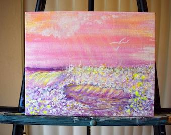Pink Waves Fine Art ORIGINAL Acrylic Painting on Canvas