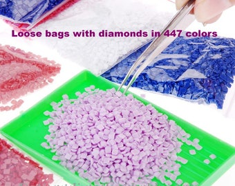 Loose bags with square diamonds in 447 colors diamond painting, 3d painting, diy kits, Free shipping! 3D Embroidery set Cross Stitch