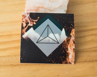 Fire Platonic Solid Geometry Sticker - Waterproof Vinyl Stickers, unity, energy, ancient symbol, crystal grid, boho, tarot
