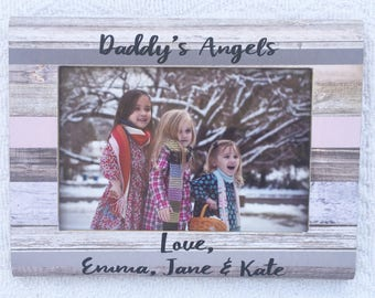 Daddy's angels personalized Father's Day frame, daddy and his girls frame, dad frame, Father's Day gift
