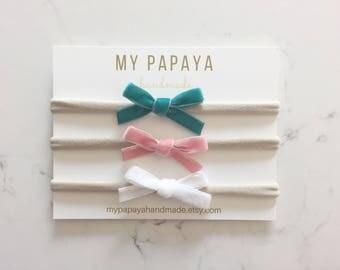 Baby velvet bow | newborn bows | velvet bow | baby girl bows | velvet bow headband | pick your colors