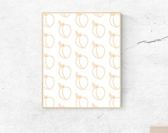 Peach Pattern, instant download, wall art, printable art, poster, minimal print, minimalistic, peach, pattern