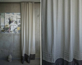 Window Curtain Eco Decor Gray Window Decor Hemp Curtain Panel Beige Window  Drape Hemp Fabric Organic