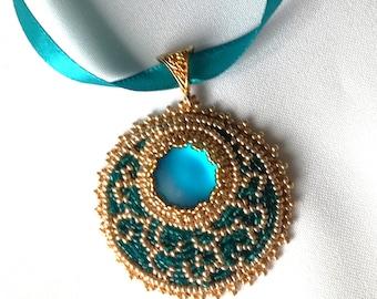 Summer night fiary tale - Handmade beaded Pendant, Memet Jewelry