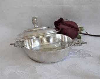 Small French vintage Christofle lidded bowl with acorn handles