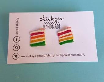 Rainblow layer cake earrings - handmade from polymer clay