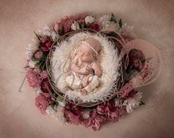 Newborn digital backdrop flower basket