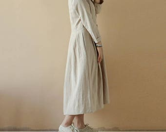Linen dress, Linen tunic, Minimal linen tunic, Stone washed, Linen clothes, Loose dress,full length dress,ladies clothing