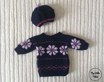 "Sweater dress and matching Doll ""Corolle"" beret"