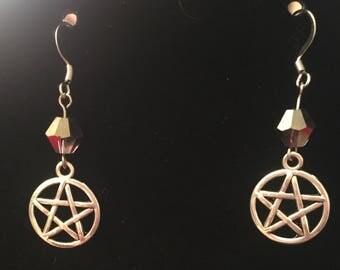 Silver Pentacle Dangle Earrings