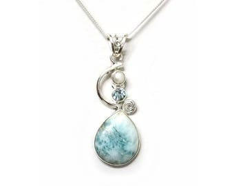 925 Sterling Silver Larimar Pearl and Topaz Pendant