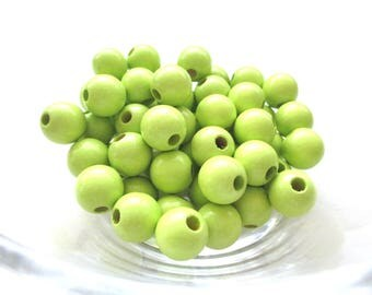 25 wooden pacifier clip 12 mm - lime green beads