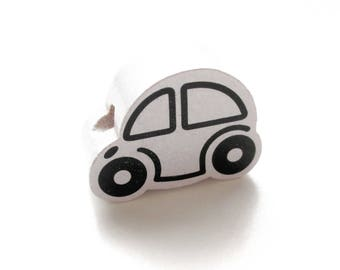 Small car - white wooden bead