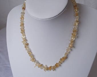 Citrine and Sterling Silver Necklace 18 inch
