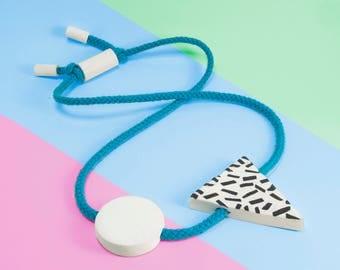 Statement Necklace - Geometric Necklace - Contemporary Jewellery - Chunky Necklace - Blue Necklace - Tribal Necklace - Scandinavian Modern
