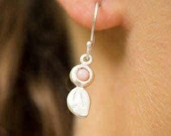 Leaf and bud pink opal dangle earring