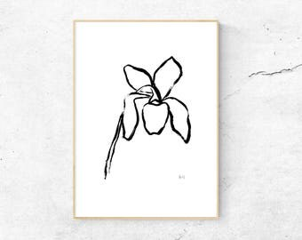 Wildflower Drawing, Digital Downloadable Poster, Line Drawing, Minimalist Art, Black White Illustration, Instant Download, Hand drawn Flower
