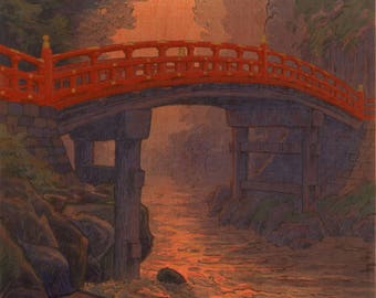 "Japanese Art Print ""Sacred Bridge"" by Yuhan Ito, woodblock print reproduction, asian art, cultural art, landscape, countryside, Nikko, Japan"