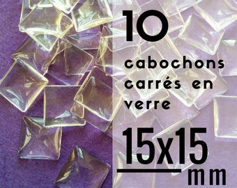 10 cabochons square glass - 15 mm - set of 10 cabochons