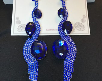 Royal Blue Regal Runway Collection Chandelier Earrings
