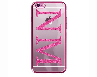 Personalised Glitter Pink initials Clear Phone Case Cover for Apple iPhone 5 6 6s 7 8 Plus & Samsung Galaxy Personalized Customized Monogram