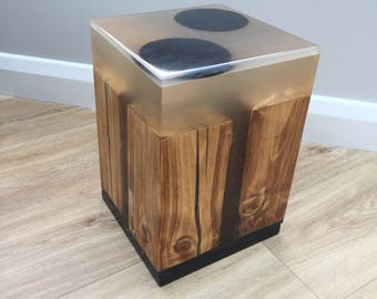 Epoxy resin and wood side table