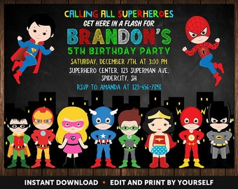 Superhero Invitation Instant Download, Superhero Birthday Invitation, Superhero Party Invitation, Birthday Invitations For Boys, Invitation
