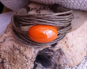 Bracelet and ceramic jewelry, organic jewelry, linen, flax eco friendly, organic jewelry, for organic organic jewelry bracelet